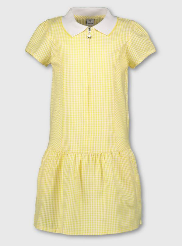 Yellow Gingham Sporty Collar School Dress - 7 years