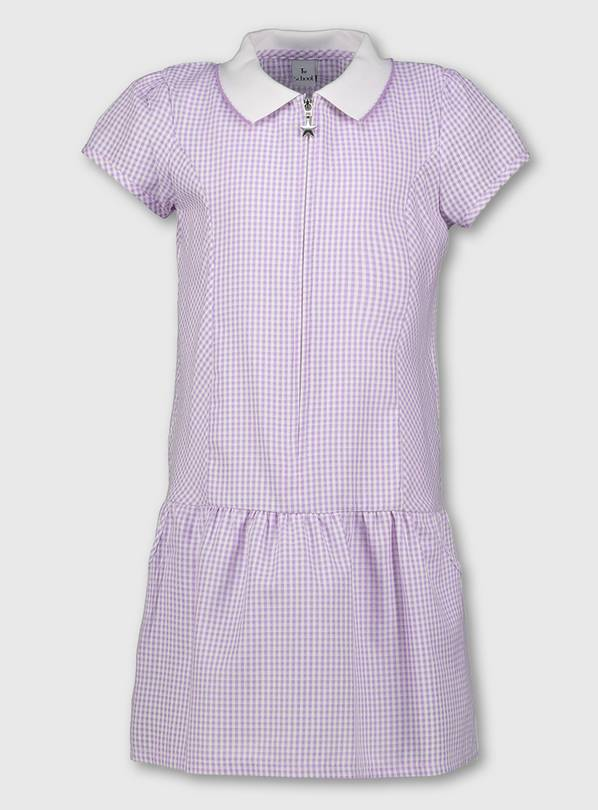 Lilac Gingham Sporty Collar School Dress - 6 years