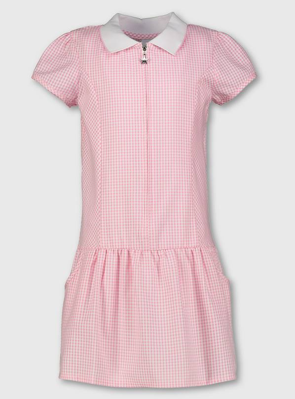 Pink Gingham Sporty Collar School Dress - 13 years