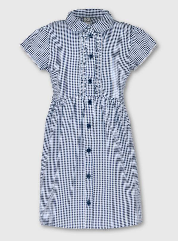 Navy Blue Plus Fit Gingham School Dress - 9 years
