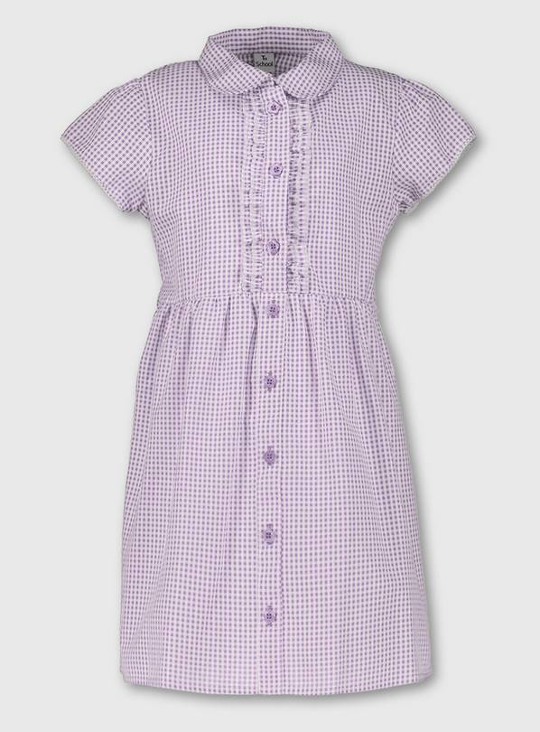 Lilac Plus Fit Gingham School Dress - 14 years