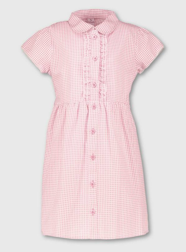Pink Plus Fit Gingham School Dress - 8 years