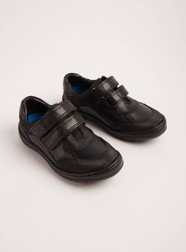 Black Leather Twin Strap School Shoes - 13 Infant