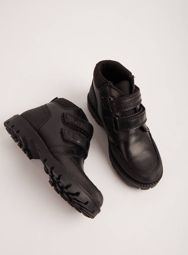Black Leather School Boots - 9 Infant