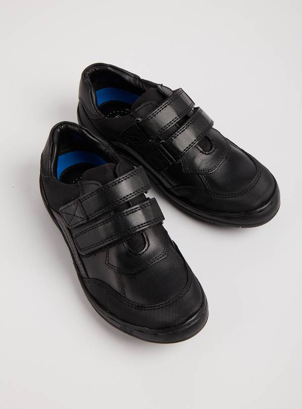Black Leather Twin Strap School Shoes - 12.5 Infant