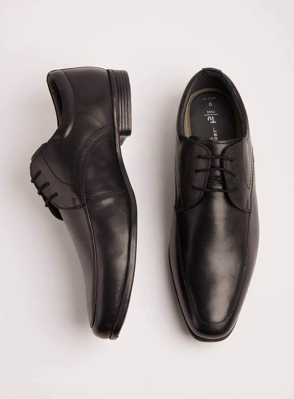 Sole Comfort Black Leather Wide Fit Formal Shoes - 10