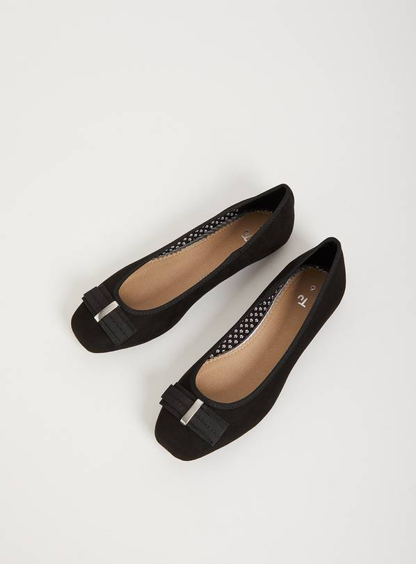 Black Ballet Pump With Bow - 5