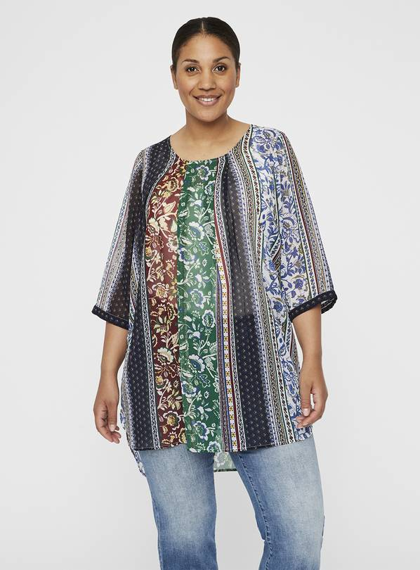 Multicoloured Panel Sheer Tunic - 18
