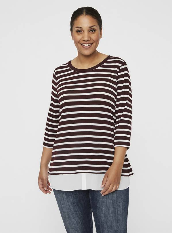 Burgundy & White Knit Pullover Blouse - L