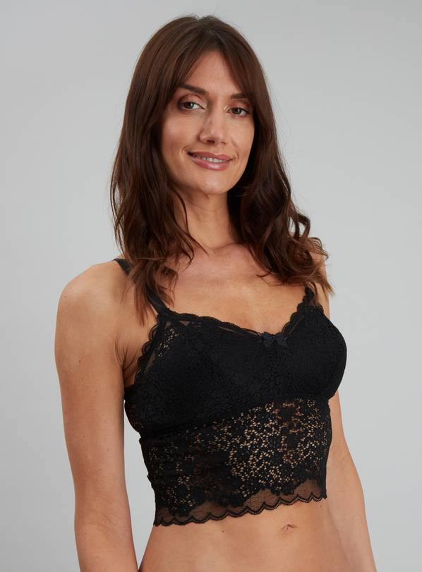 Black Lace Cropped Cami - 8