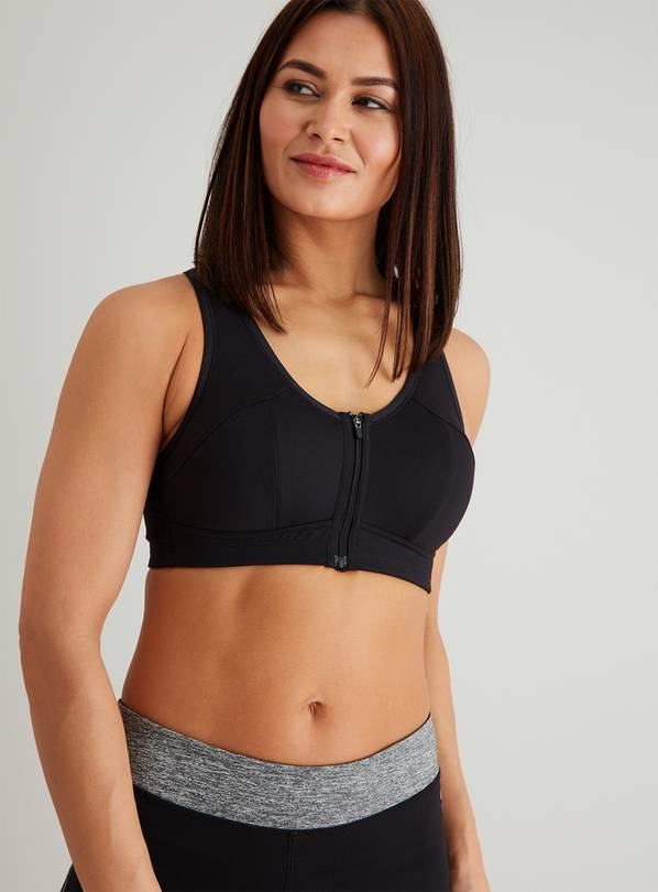 Active Black Zip Front Sports Bra - 36C