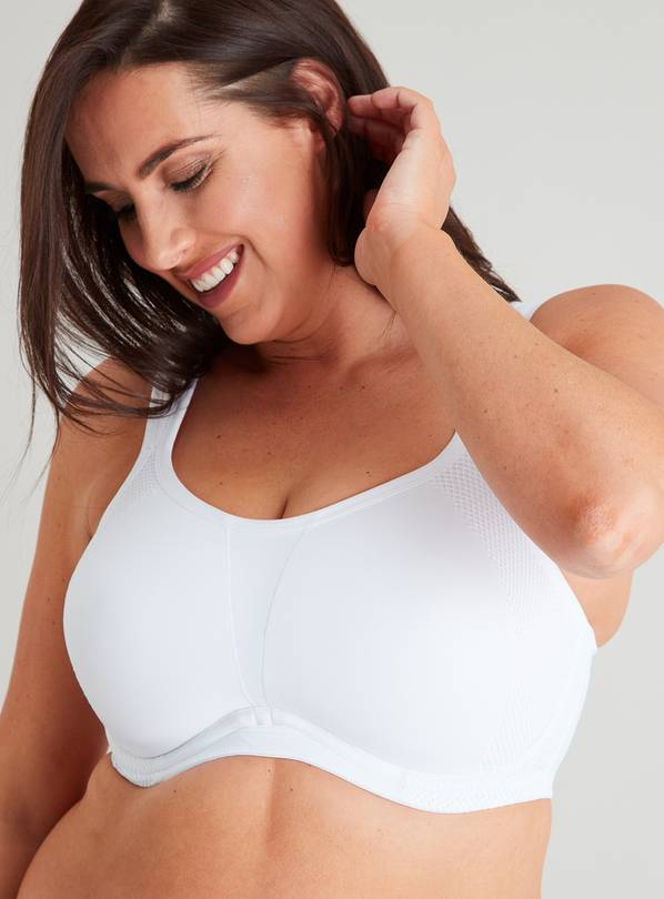 Active DD+ White High Impact Flexiwire Sports Bra - 36GG