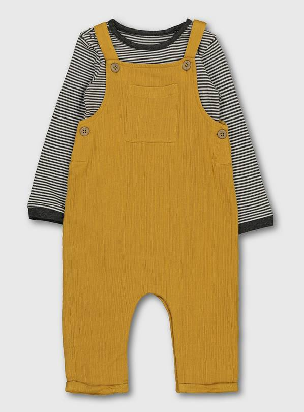 Ochre Crepe Dungarees & Stripe Bodysuit - Up to 3 mths