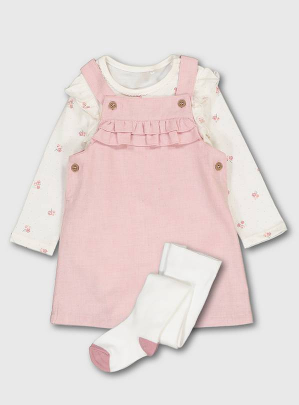 Pink Pinafore, Floral Print Bodysuit & Tights - 6-9 months