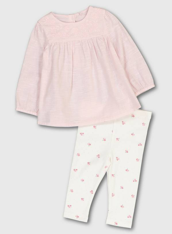 Pink Blouse & Floral Leggings - 3-6 months