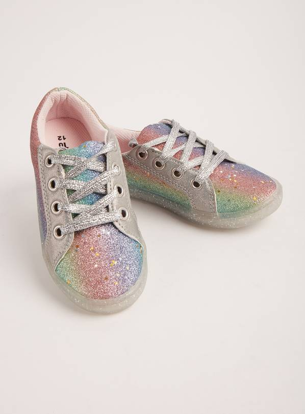 Rainbow Glitter Lace-Up Trainers - 13 Infant