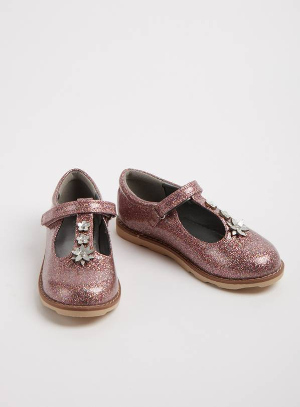 Pink Glittery T-Bar Party Shoes - 8 Infant
