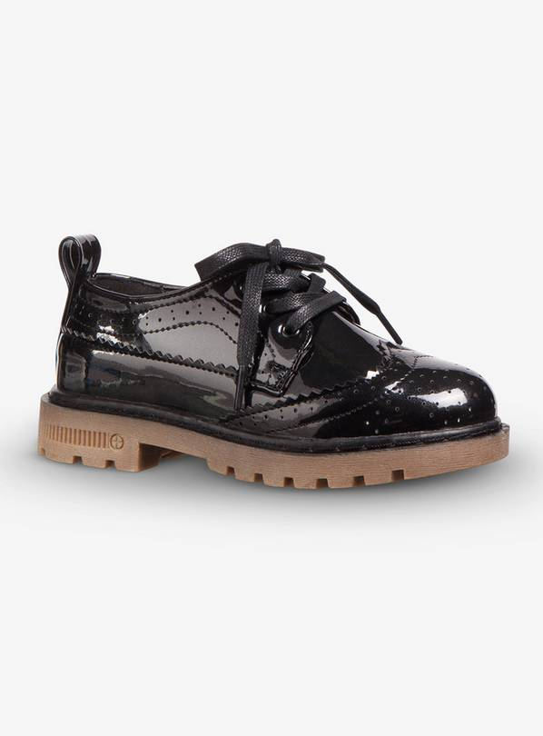 Online Exclusive Black Patent Back To School Brogues - 10 In