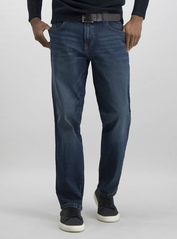Blue Mid Wash Belted Straight Leg Jeans With Stretch - W28 L
