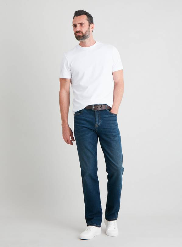 Blue Mid Wash Belted Straight Leg Jeans With Stretch - W34 L
