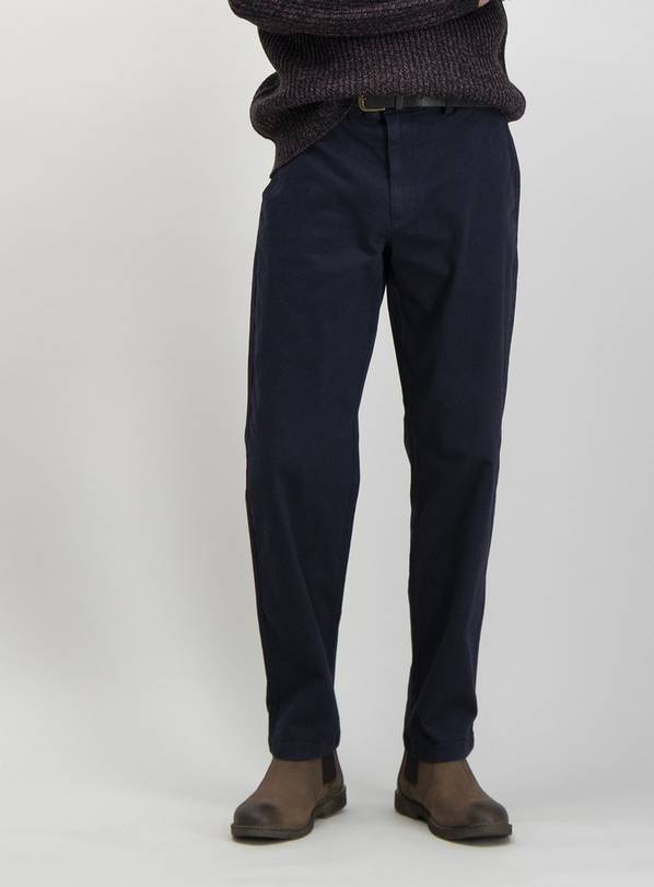 Navy Straight Leg Belted Chino With Stretch - W34 L34