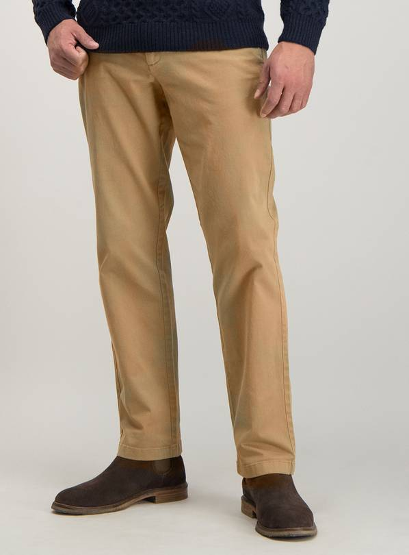 Stone Straight Leg Chinos With Stretch - W46 L30