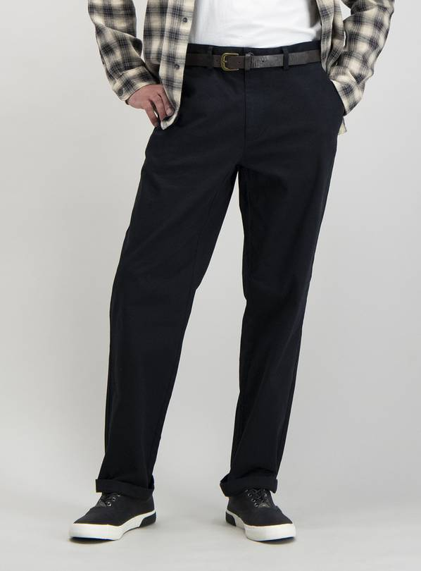Black Straight Leg Belted Chino With Stretch - W36 L34