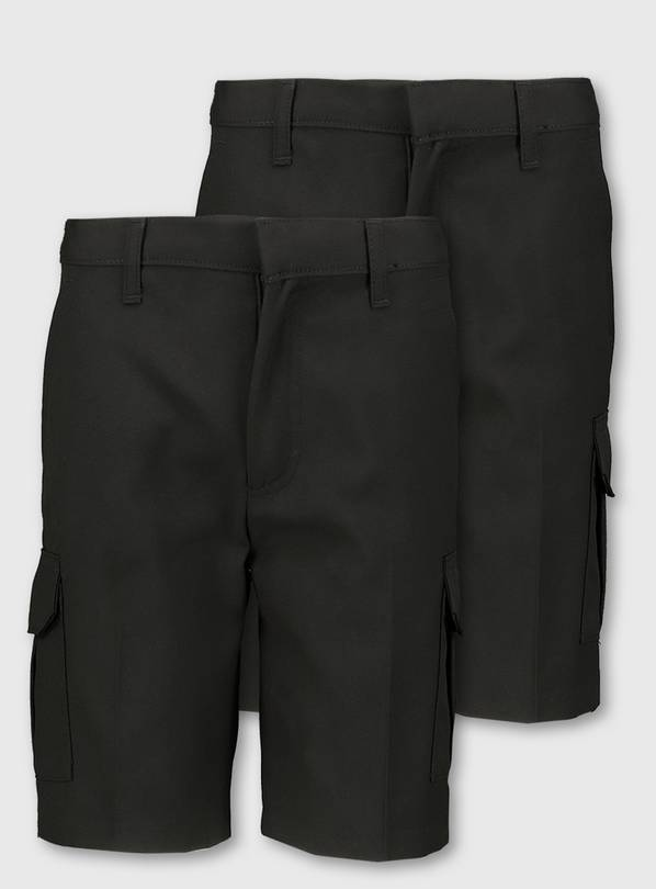 Black Cargo School Shorts 2 Pack - 12 years