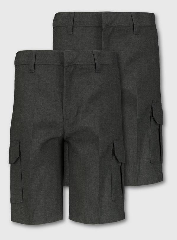 Grey Cargo School Shorts 2 Pack - 5 years