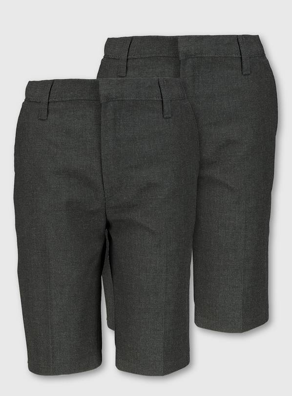 Grey Classic Longer Length Shorts 2 Pack - 12 years