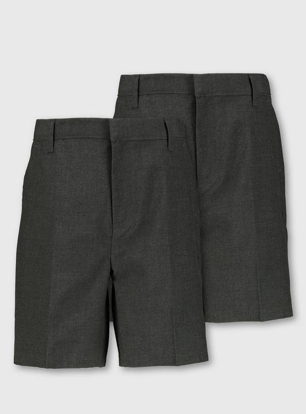 Grey Plus Fit Classic School Shorts 2 Pack - 4 years