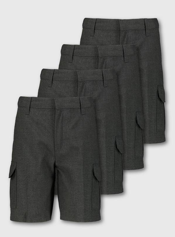 Grey Cargo School Shorts 4 Pack - 11 years