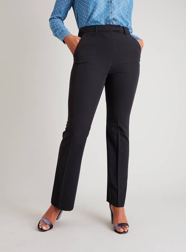 Black Bootcut Trousers With Stretch - 10R
