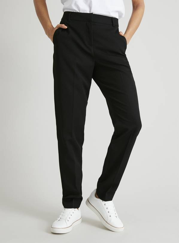 Black Tapered Leg Trousers With Stretch - 10S