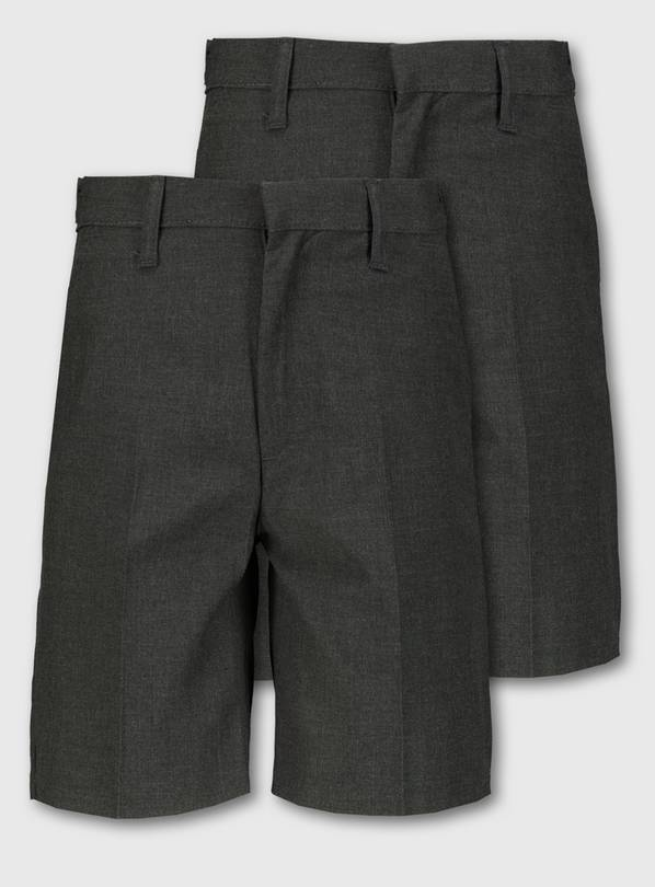 Grey Classic School Shorts 2 Pack - 11 years