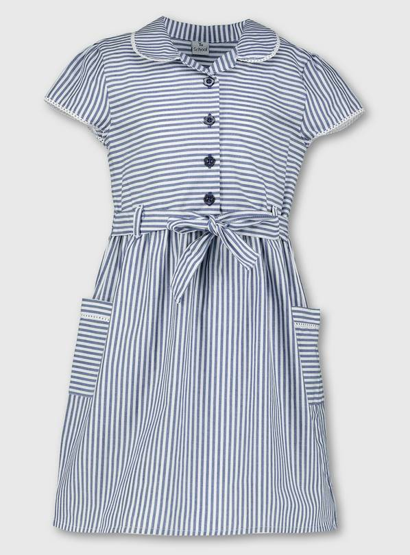 Navy Blue Stripy School Dress - 4 years