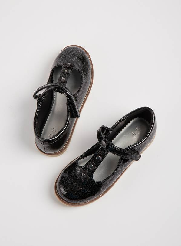 Black Glittery T-Bar Party Shoes - 4 Infant