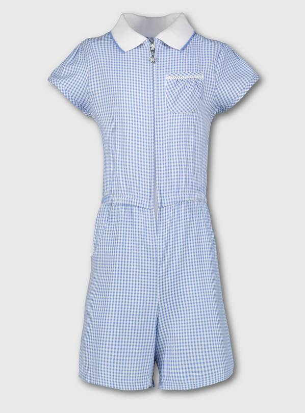 Blue Gingham School Playsuit - 13 years