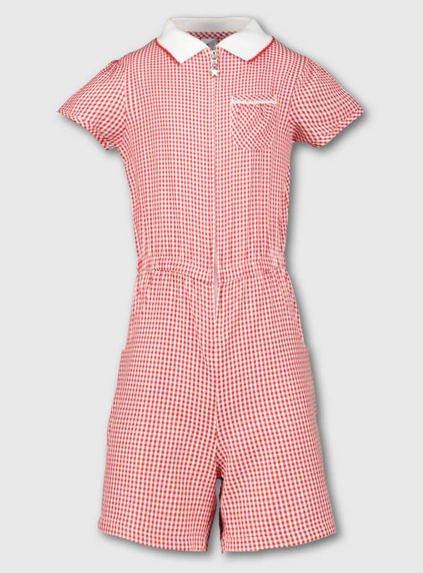Red Gingham School Playsuit - 6 years