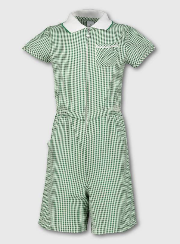 Green Gingham School Playsuit - 13 years
