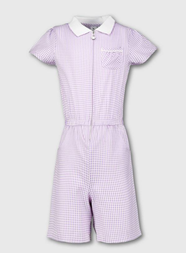 Lilac Gingham School Playsuit - 11 years