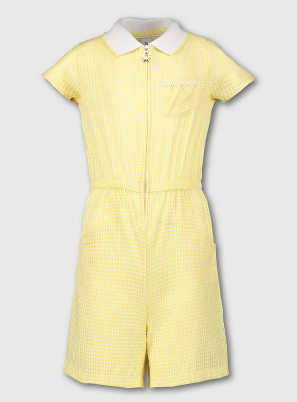 Yellow Gingham School Playsuit - 6 years