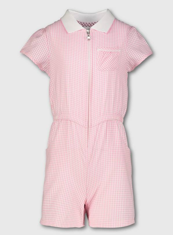 Pink Gingham School Playsuit - 6 years