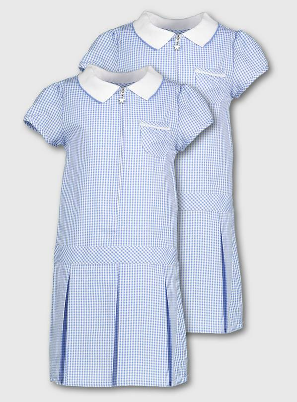 Blue Gingham Sporty Dresses 2 Pack - 5 years