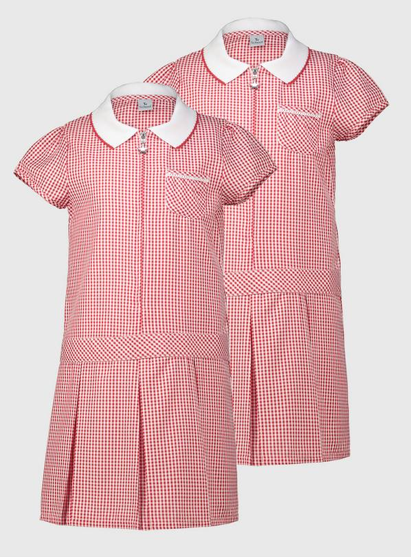 Red Gingham Sporty Dresses 2 Pack - 10 years