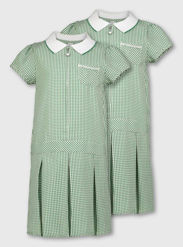 Green Gingham Sporty Dresses 2 Pack - 11 years
