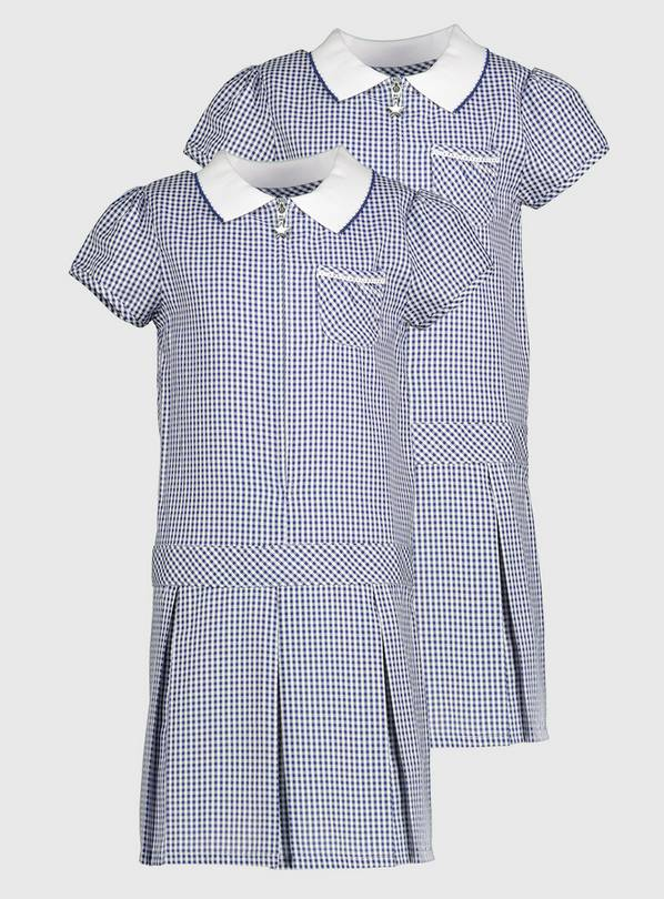 Navy Gingham Sporty Dresses 2 Pack - 8 years