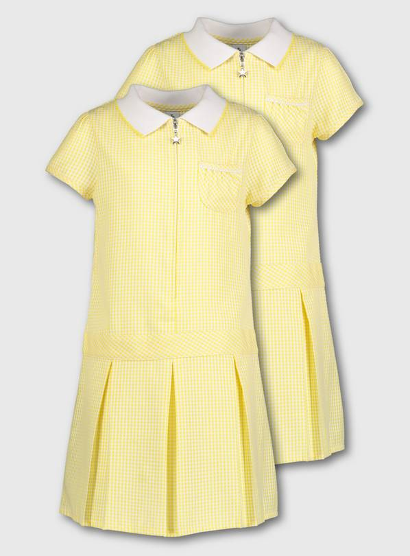 Yellow Gingham Sporty Dresses 2 Pack - 3 years