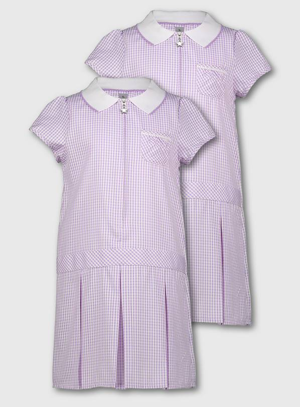 Lilac Gingham Sporty Dresses 2 Pack - 14 years