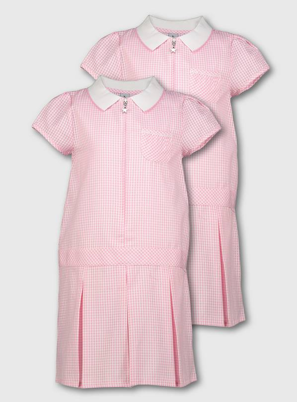 Pink Gingham Sporty Dresses 2 Pack - 8 years
